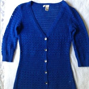 DKNY Jeans Electric Blue Crochet Cardigan Small